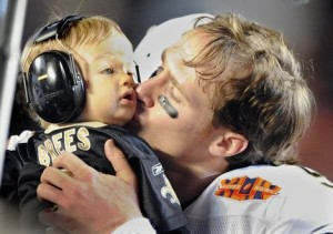 Drew Brees and son celebrate Super Bowl win - CoachUp - Jackie Bledsoe, Jr.